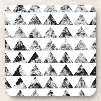 Aztec print black blank Black White Coasters
