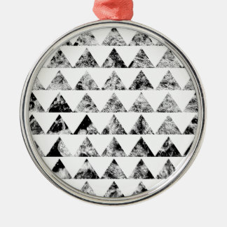Aztec print black blank Black White Silver-Colored Round Decoration