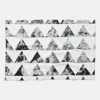 Aztec print black blank Black White Tea Towel