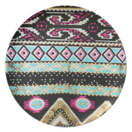 Aztec Print in Funky Colors Dinner Plates