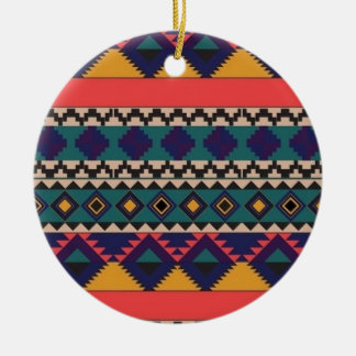 aztec print round ceramic decoration