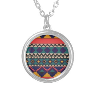 aztec print silver plated necklace