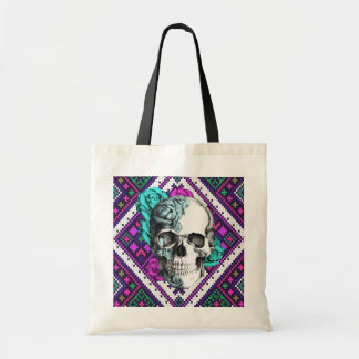 Aztec Rose skull on tribal pixel pattern.