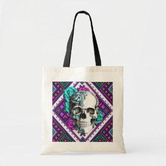 Aztec Rose skull on tribal pixel pattern. Tote Bag