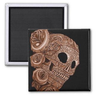 aztec skull RITON TATTOO Square Magnet
