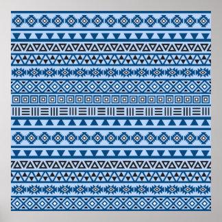 Aztec Style Pattern Blues Black & White Poster