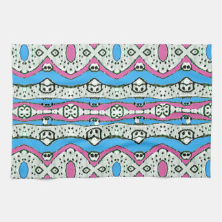 Aztec Style Pattern in Pastel Colors Tea Towel