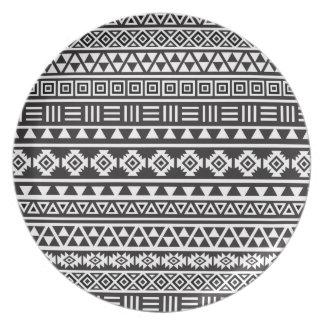 Aztec Style Pattern - Monochrome Dinner Plate