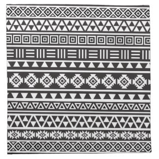 Aztec Style Pattern - Monochrome Napkin