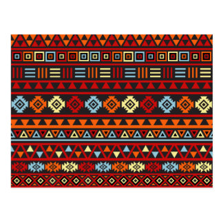 Aztec Style Pattern - Orange Yellow Blue Red & Blk Postcard