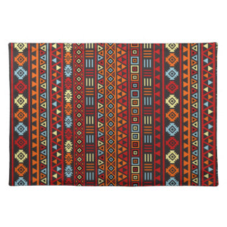 Aztec Style Repeat Ptn - Orange Yellow Red & Black Placemat