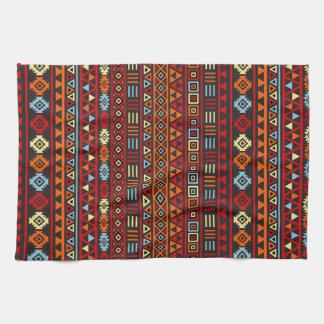 Aztec Style Repeat Ptn - Orange Yellow Red & Black Tea Towel