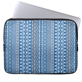 Aztec Style Vertical Pattern Blues Black & White Laptop Computer Sleeves