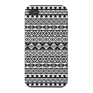Aztec Stylized Pattern Black & White Cover For iPhone 4