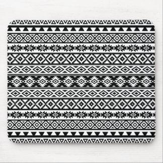 Aztec Stylized Pattern Black & White Mouse Pad