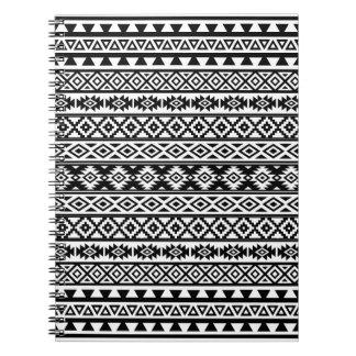 Aztec Stylized Pattern Black & White Notebook