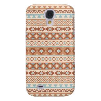 Aztec Stylized Pattern Blue Cream Terracottas Galaxy S4 Cover