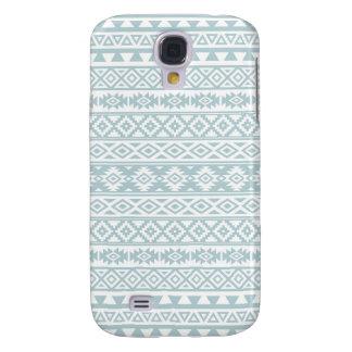 Aztec Stylized Pattern Duck Egg Blue & White Galaxy S4 Case