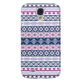 Aztec Stylized Pattern Pinks Purples Blues White Galaxy S4 Case