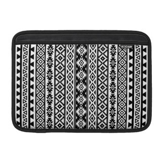 Aztec Stylized (V) Pattern Black & White MacBook Sleeve