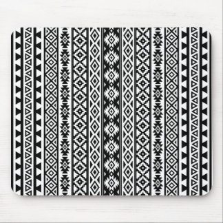 Aztec Stylized (V) Pattern Black & White Mouse Pad