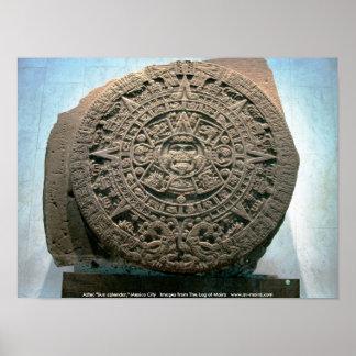 Aztec Sun calendar Mexico City Posters