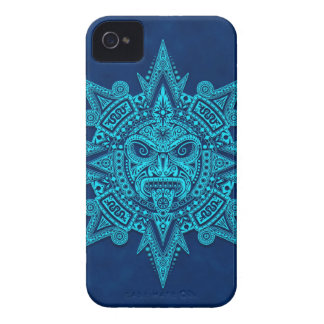 Aztec Sun Mask, Blue iPhone 4 Covers