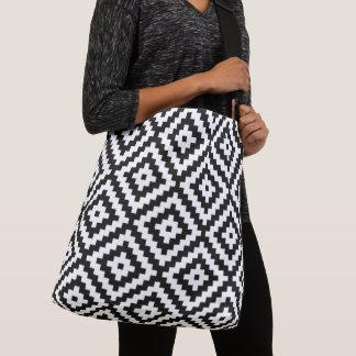 Aztec Symbol Block Big Pattern Black & White II Crossbody Bag
