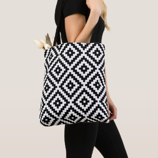 Aztec Symbol Block Big Pattern Black & White Tote Bag