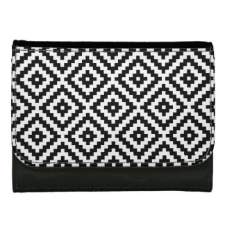 Aztec Symbol Block Big Ptn Black & White Wallet