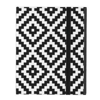 Aztec Symbol Block Lg Ptn Black & White iPad Case