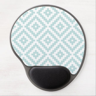 Aztec Symbol Block Pattern Duck Egg Blue & White I Gel Mouse Pad