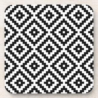 Aztec Symbol Block Ptn Black & White I Coaster