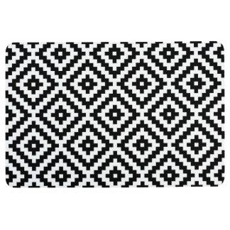 Aztec Symbol Block Ptn Black & White I Floor Mat