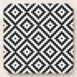 Aztec Symbol Block Ptn Black & White II Coaster