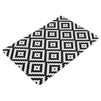 Aztec Symbol Block Ptn Black & White II Floor Mat