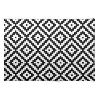 Aztec Symbol Block Ptn Black & White II Placemat
