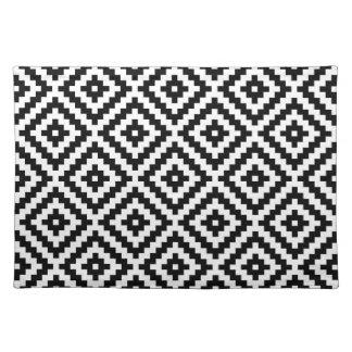 Aztec Symbol Block Ptn Black & White Placemat