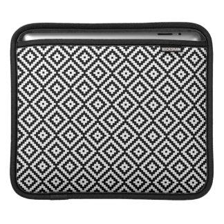 Aztec Symbol Block Sml Ptn Black & White II iPad Sleeve