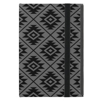 Aztec Symbol Stylized Big Pattern Black on Gray iPad Mini Cover