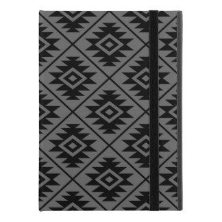 "Aztec Symbol Stylized Big Pattern Black on Gray iPad Pro 9.7"" Case"