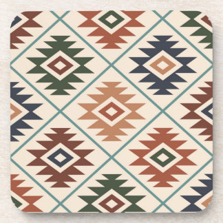 Aztec Symbol Stylized Big Pattern Color Mix Coaster