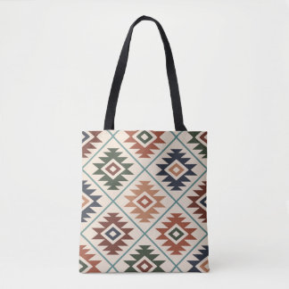 Aztec Symbol Stylized Big Pattern Color Mix Tote Bag