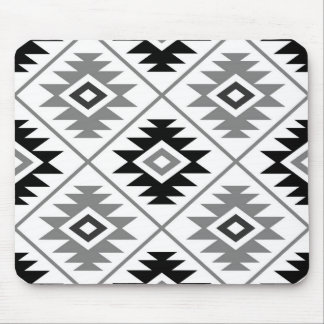 Aztec Symbol Stylized Big Pattern Gray White Black Mouse Pad