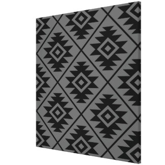 Aztec Symbol Stylized Big Ptn Black on Gray Canvas Print