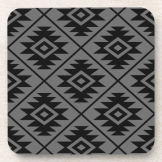 Aztec Symbol Stylized Big Ptn Black on Gray Coaster