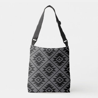Aztec Symbol Stylized Big Ptn Black on Gray Crossbody Bag