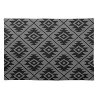 Aztec Symbol Stylized Big Ptn Black on Gray Placemat