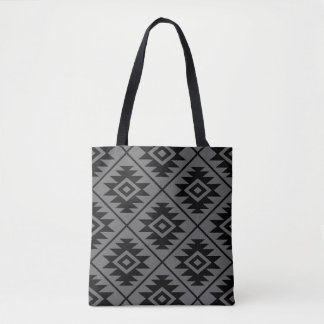 Aztec Symbol Stylized Big Ptn Black on Gray Tote Bag