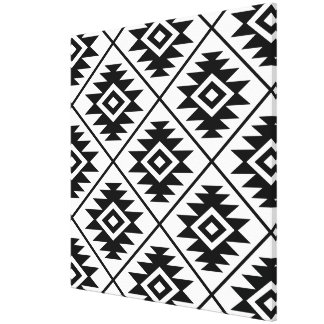 Aztec Symbol Stylized Big Ptn Black on White Canvas Print